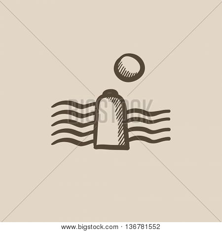 Solar energy and hydropower vector sketch icon isolated on background. Hand drawn Solar energy and hydropower icon. Solar energy and hydropower sketch icon for infographic, website or app.