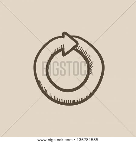 Circular arrow vector sketch icon isolated on background. Hand drawn Circular arrow icon. Circular arrow sketch icon for infographic, website or app.