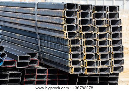 Steel C Chanel At Construction Site