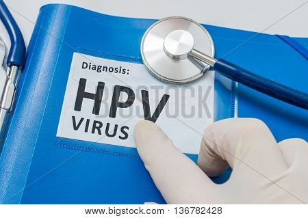 Blue Folder With Patient Files With Hpv Virus Diagnosis.