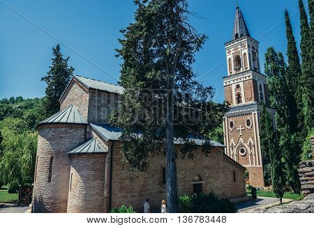 Bodbe Georgia - July 19 2015. The Monastery of Saint Nino at Bodbe in Kakheti region