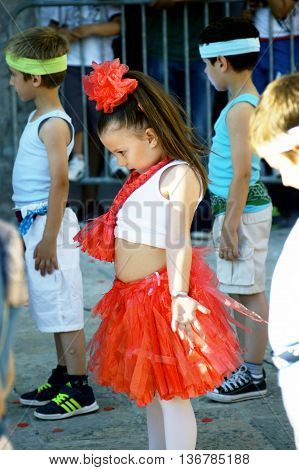 Montenegro, Herceg Novi - 04/06/2016: Children represent a tribe of African natives. 10 International Children's Carnival