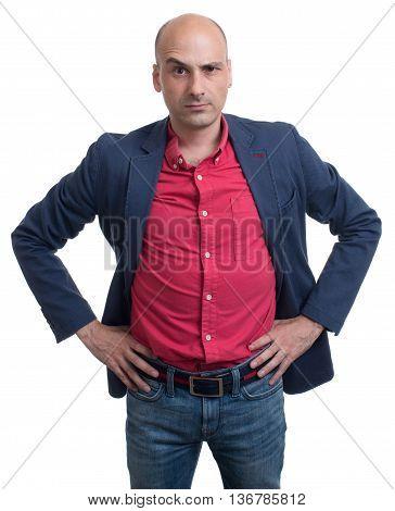 Skeptical Bald Man Looking At Camera. Isolated