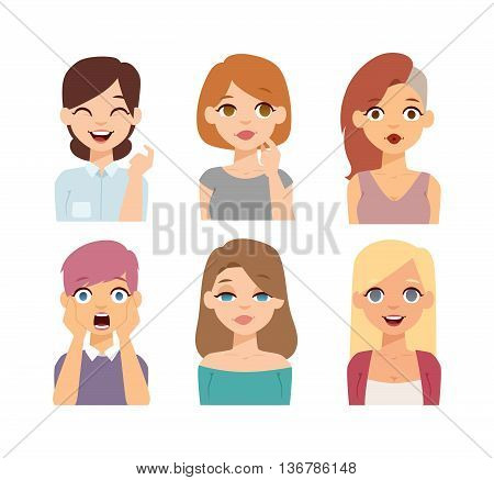 Group girls face nationality race avatars. Flat design characters woman people nationality race. Set diverse avatars girls people nationality race. Different woman face nationalities hair styles.