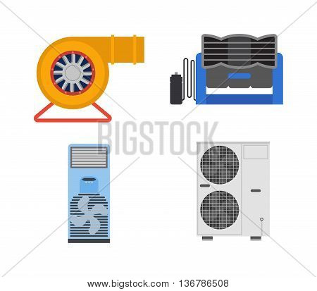Air conditioning system assembled on building. House equipment cold electric air conditioning industry appliance cooling. Compressor repairman unit building vector air conditioning.