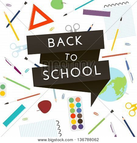 Back to School with school supplies. Vector illustration