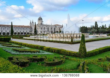 View Lisbon, Jeronimos Monastery in the Portugal .