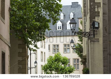 Luxembourg City - Luxembourg - July 01, 2016: Typical Street In Luxembourg. Luxembourg City Is The C
