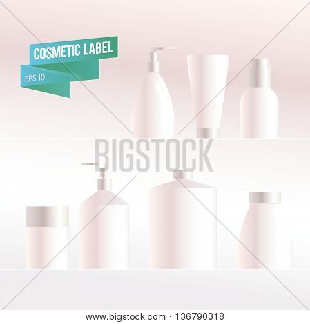 Vector cosmetic package isolated on white background. Soap pump. Mock up. Perfume container. Medical cosmetic dropper-bottle. Blank different cosmetic products. Bottle, tube, can, comb, spay, package.
