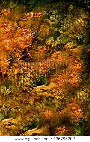 beautiful abstract background with natural fairy motives, illustration.