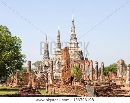 Wat Phra Si Sanphet temple in Ayutthaya Thailand Asia