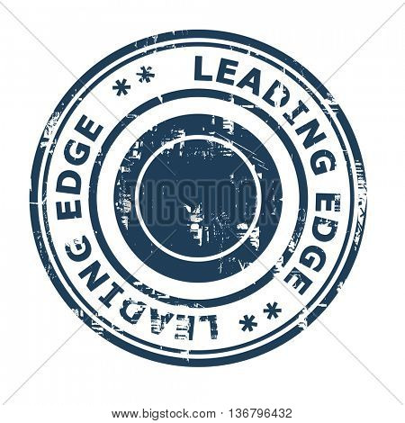 Leading edge business concept rubber stamp isolated on a white background.