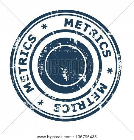 Metrics business concept rubber stamp isolated on a white background.