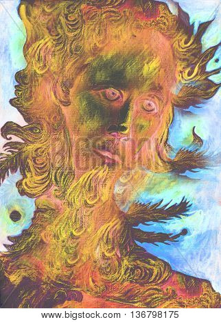 nature spirit - the wind prophet with feathers, drawing.