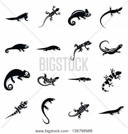 Lizard icons in simple style. Black lizards set isolated vector illustratration