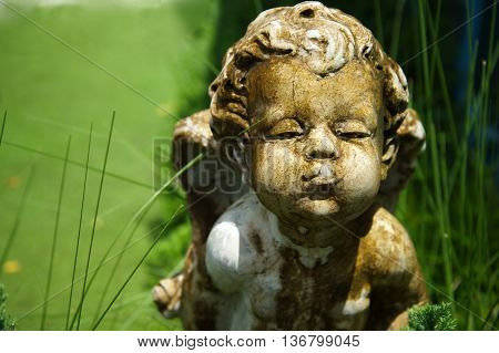 old cupid sculpture angle of love  in green garden