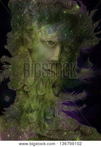 green nature spirit - the wind prophet with feathers, drawing.