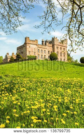 Lawns outside Hutton in the Forest castle in Cumbria, England.