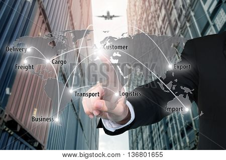 Businessman working with virtual interface connection map of global network partner connection use for logisticimportexport background.(Elements of this image furnished by NASA)