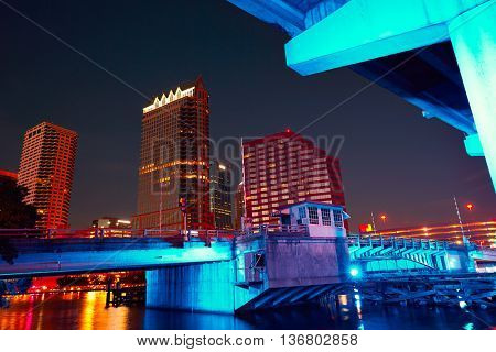 Florida Tampa skyline at sunset from Hillsborough river in US
