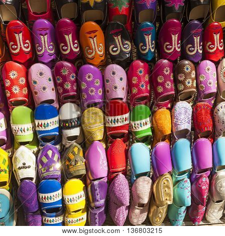 Multicoloured Moroccan slippers on market in Marrakesh