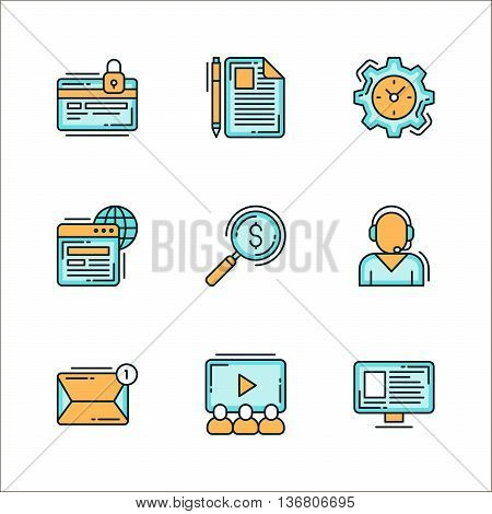 Icons with business related things. Colored flat vector illustration. Icons isolated on white background. Confidential notes process worldwide find finance resources service management presentation profile