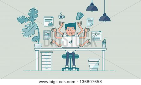 Workspace of Professional Working Developer, Programmer, System Administrator or Designer with desk, chair, notebook Business project or startup concept. Employee office workplace. Vector poster