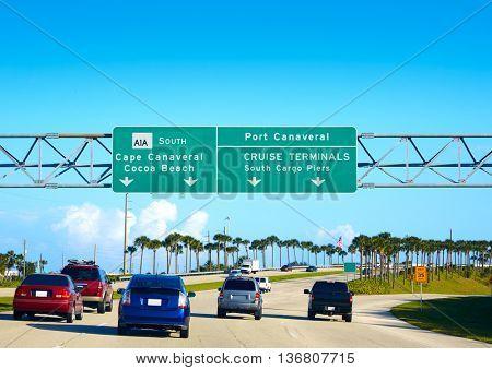 Cape Canaveral and Cocoa beach road sign in florida near Orlando USA