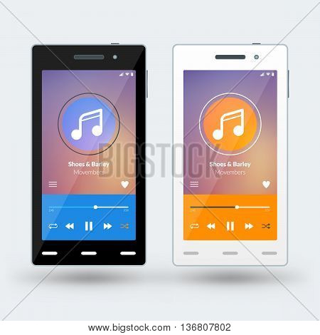 Modern smartphone with musical player on the screen. Flat design template for mobile apps. Black and white smartphones. Vector illustration