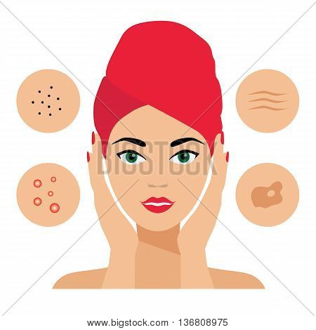 Facial Care, Skin Defects. Skin Problems, Acne, Seborrhea, Seborrheic Dermatitis, Wrinkles, Dark Spots. Facial care icons. Cosmetologist, Dermatologist poster