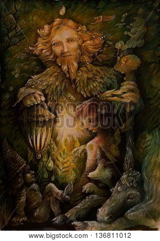 clan of forest dwarves and protectors, colorful illustration. poster