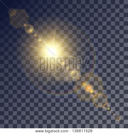 Shining vector golden sun with light effects. Flares and gleams rounded and hexagonal shapes rainbow halo.