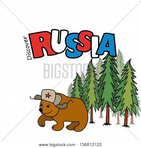 Russia. Cartoon smiling bear in a cap with earflaps pine forest in the background. Vector