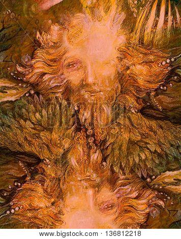 bright sunny forest dwarf, lightbringer colorful illustration.