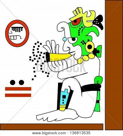 Young man playing the flute. Ethnic pattern of American Indians: Aztecs, Mayans, Incas. Vector illustration.