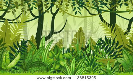 Seamless jungle landscape with many green plants
