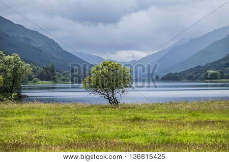 Iconic Scottish scenery looking towards Loch Voil from Balquhidder with hills and glens beyond.