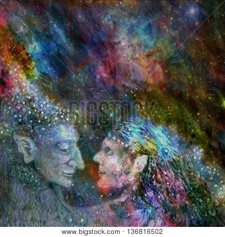 fairies couple talking to each other, colorful illustration.