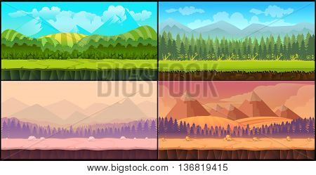 Game backgrounds Vector seamless set, 2d game application. Vector design. Tileable horizontally. Size 1024x512. Ready for parallax effect