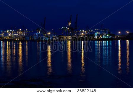 BIRZEBUGGA, MALTA-june 4: cargo port in Birzebugga, Malta, panoramic view of cargo port late evening on June 4, 2016, industrial area freeport in Birzebugga, Malta. Business. Logistics