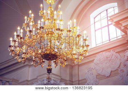 crystal chandelier lamp Palace Interior architecture background