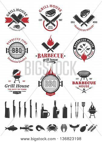Barbecue black and red logo and labels. BBQ seafood meat beer wine and knives icons for cafe bar and restaurant menu brandign and identity.