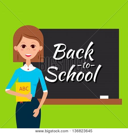 Teacher With Book And Back To School Blackboard