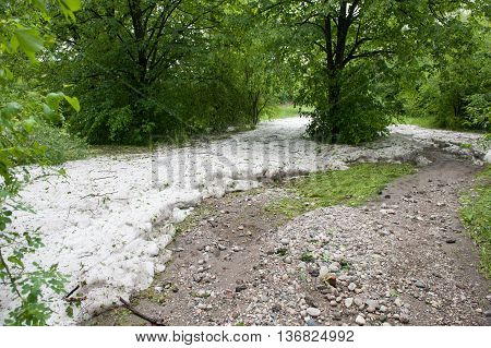 hail, dirt in the park after hurricane
