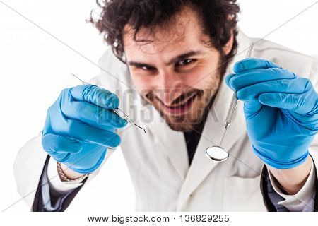 Smiling Dentist Operating