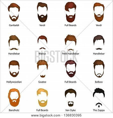 Mans hair set of beards and mustaches vector. Hipster style fashion beards and hair isolated illustration. Peoples hairstyle icon, collection of beards and mustaches for barbershop.Mans trendy haircut types for barber shop. poster