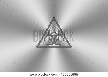 biohazard icon inlay on chrome aluminium texture.