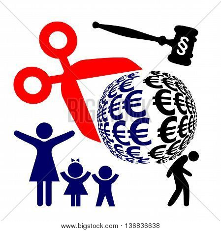 Divorce Battle Winner and Loser. Wife and children benefit, husband loses according to the divorce proceeding