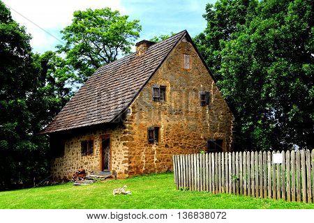 Lancaster Pennsylvania - June 5 2015: The historic 1719 Hans Herr House is the oldest Mennonite Meeting House in the Western Hemisphere