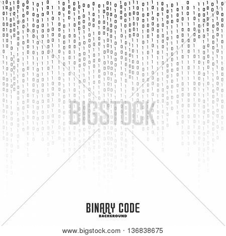 Binary code black and white background with digits on screen. Encryption. Coding. Program code. Algorithm. Vector background. Rows of numbers.